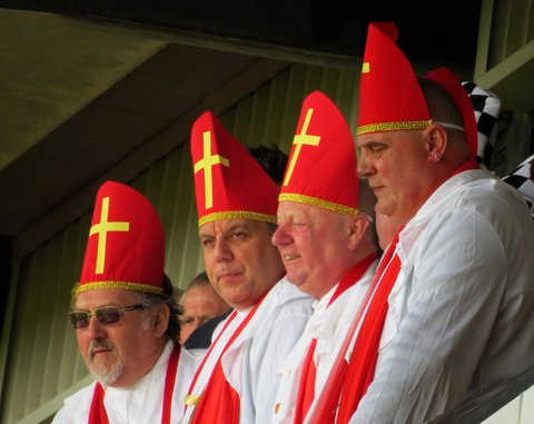 Fans dressed as Popes - Port Vale v Northampton Town 2013