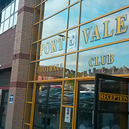 The entrance to the Vale Park stadium