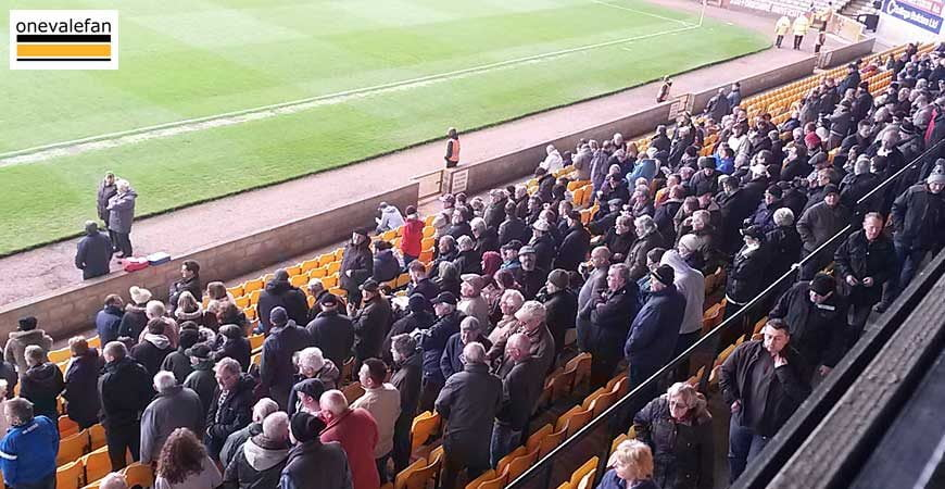 Fans in the Lorne Street stand, Vale Park stadium