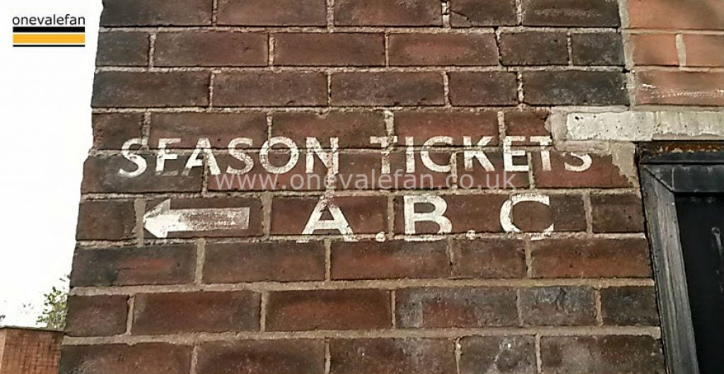 Season tickets sign at Vale Park