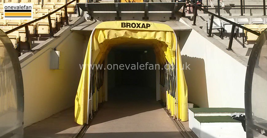 The player's tunnel at Vale Park stadium