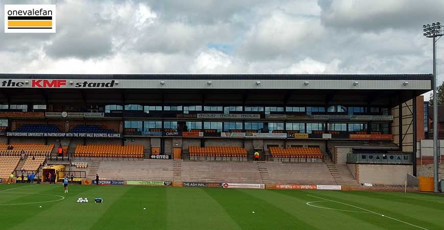 The right-hand side of the Lorne St stand, Vale Park stadium