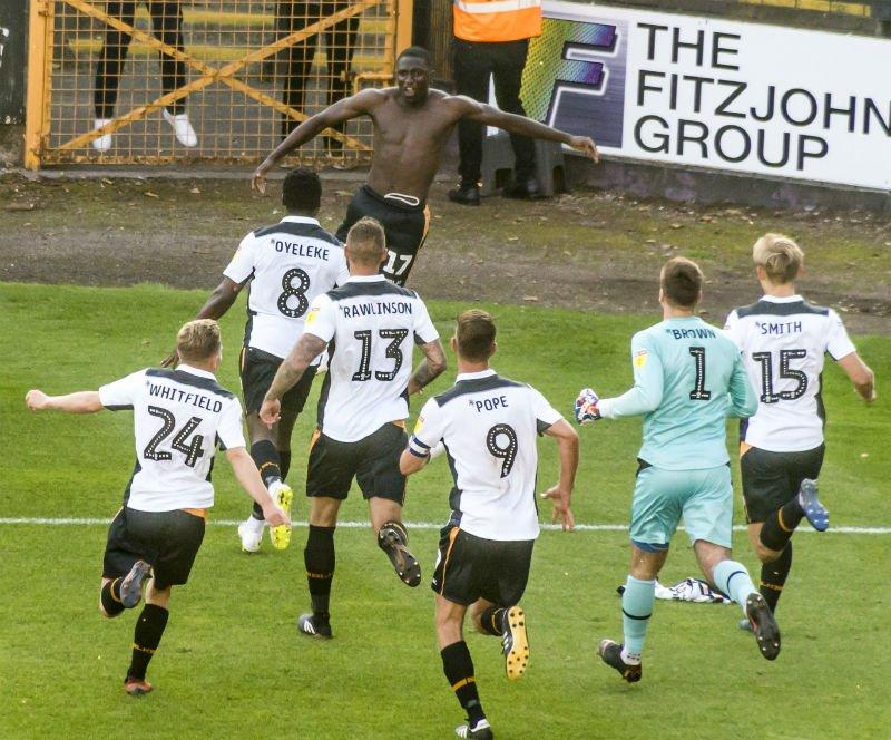 Idris Kanu celebrates his first goal for the club