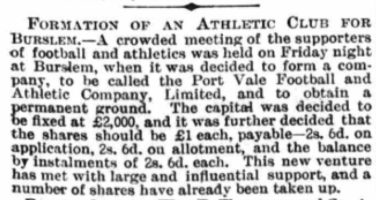formation of port vale football and athletic club