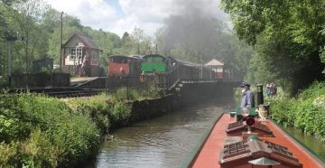 """""""Churnet Valley Railway taken from the Caldon Canal"""" by draxil is licensed under CC BY-SA 2.0"""