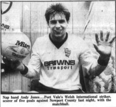 Andy Jones celebrates scoring five against Newport