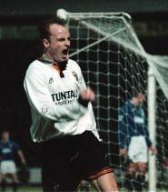 Jon McCarthy celebrates a goal against Everton