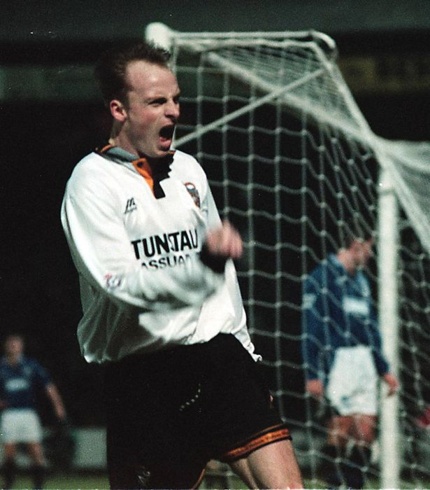 Jon McCarthy celebrates a goal against Everton