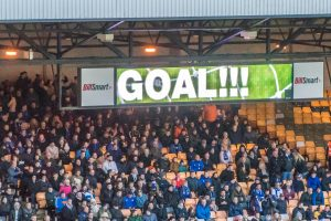 Port Vale 1-4 Oldham Athletic - the scoreboard shows a goal