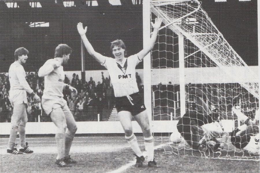 Much maligned striker Martin Henderson celebrates a goal