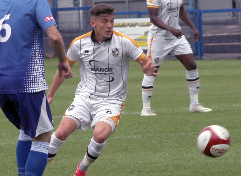 Daniel Trickett-Smith in action against Leek Town 2019