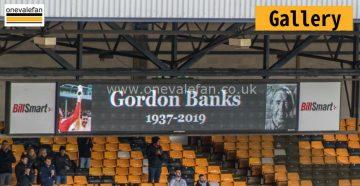 A tribute to Gordon Banks on the scoreboard