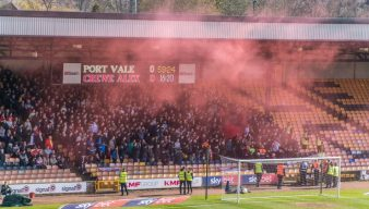 Flares were let off in the away end