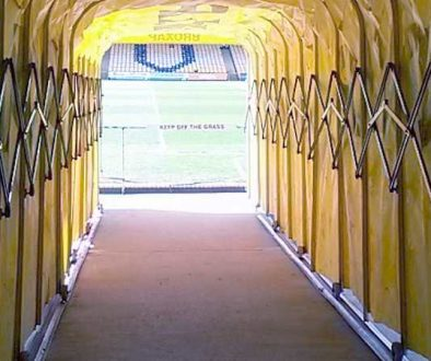 The tunnel at the Vale Park stadium