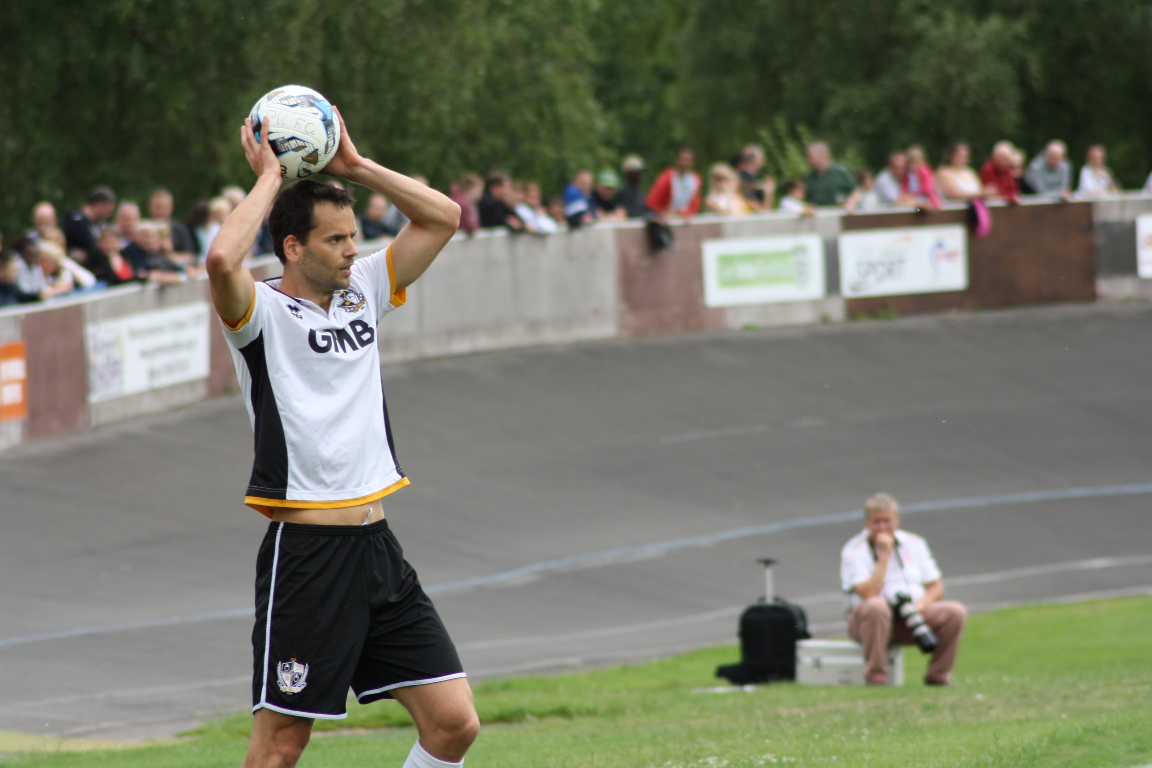Ben Purkiss takes a throw against Newcastle Town in 2015