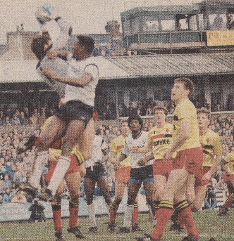 Darren Beckford challenges Tony Coton during Port Vale's 0-0 FA Cup draw with Watford 1988