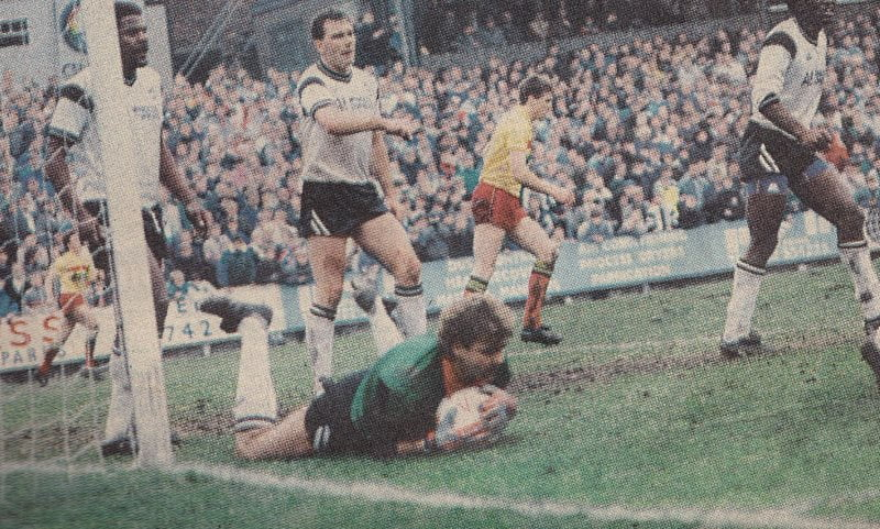 Mark Grew makes a save during Port Vale's 0-0 FA Cup draw against Watford 1988