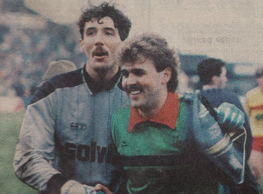 Goalkeepers Tony Coton and Mark Grew after the 0-0 FA Cup draw between Port Vale and Watford 1988