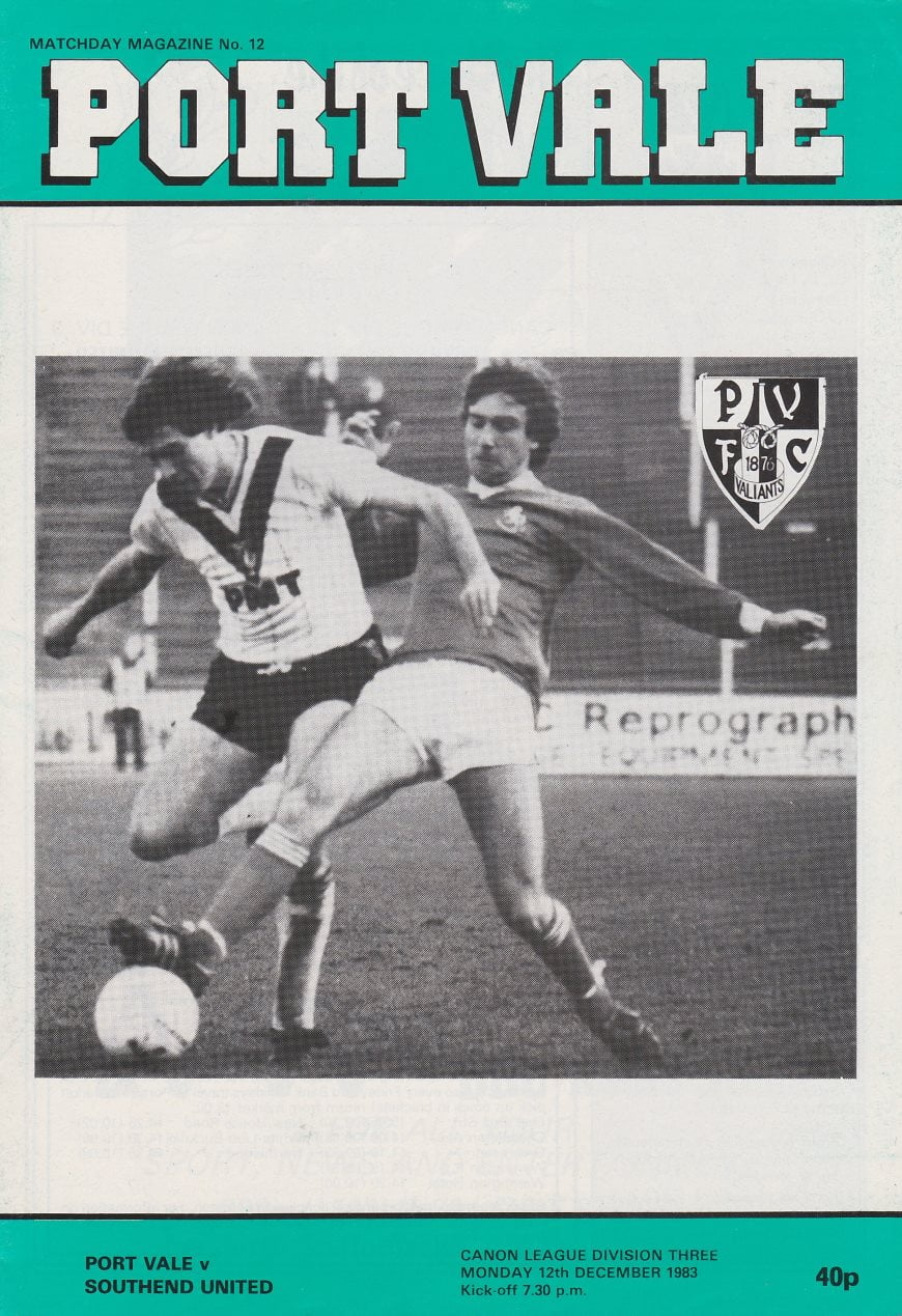 Port Vale v Southend United programme, 1984