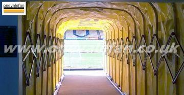 The tunnel at Port Vale's Vale Park stadium