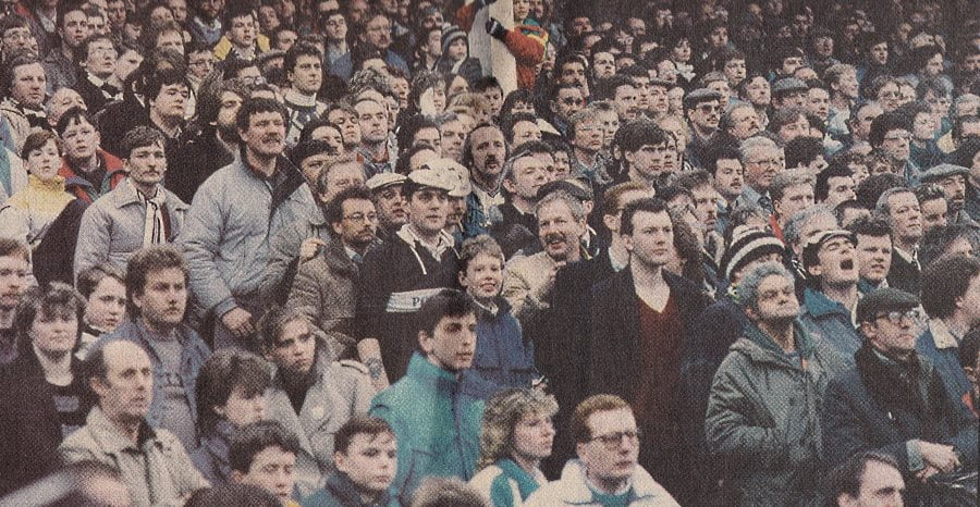 The crowd during Port Vale's 0-0 FA Cup draw with Watford in 1988