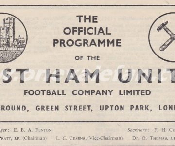 West Ham v Port Vale programme 1955