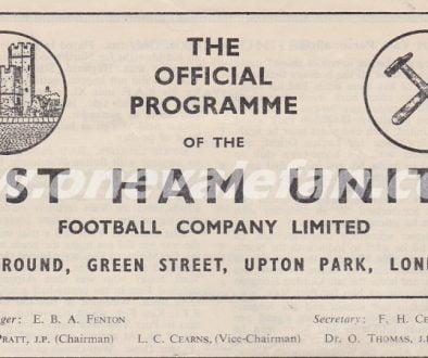 West Ham v Port Vale programme 1955