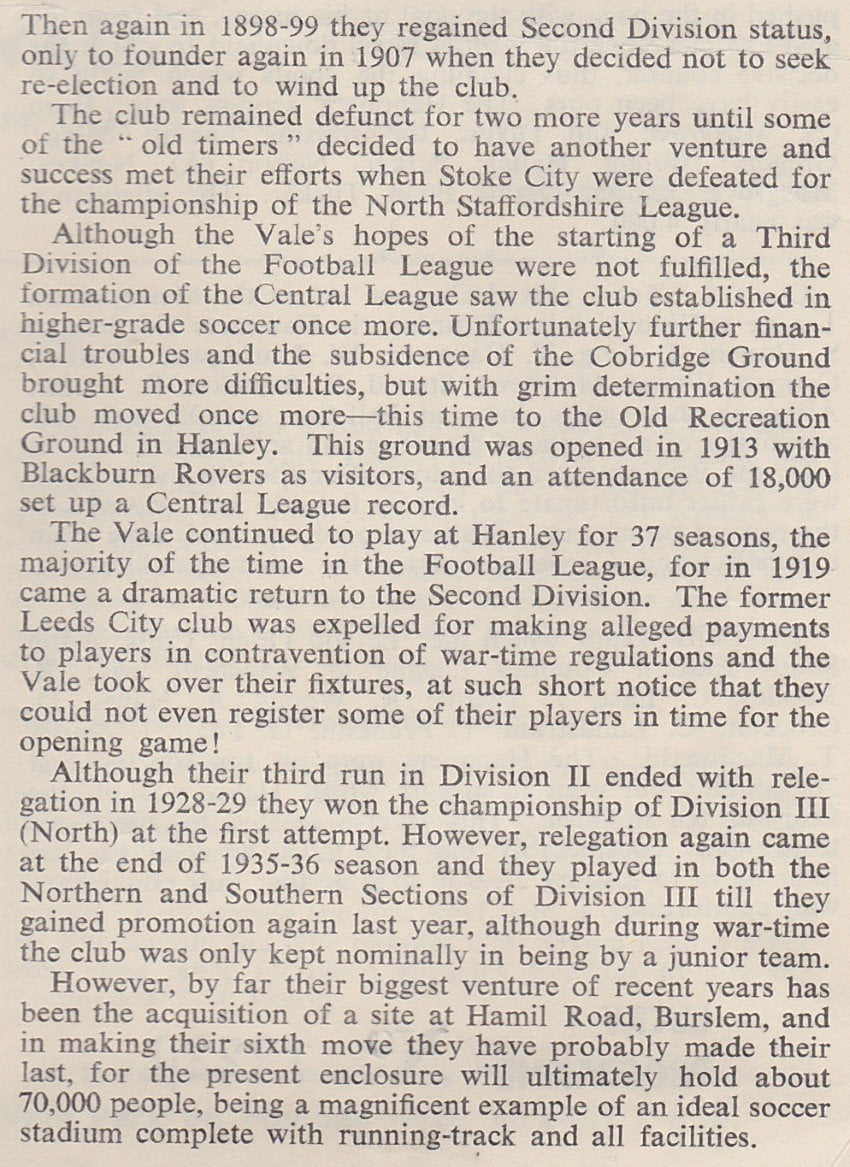 Port Vale history in detail (part two)