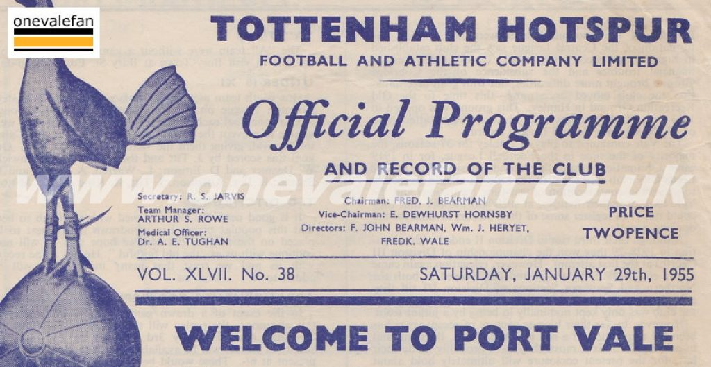 Tottenham Hotspur v Port Vale programme 1955
