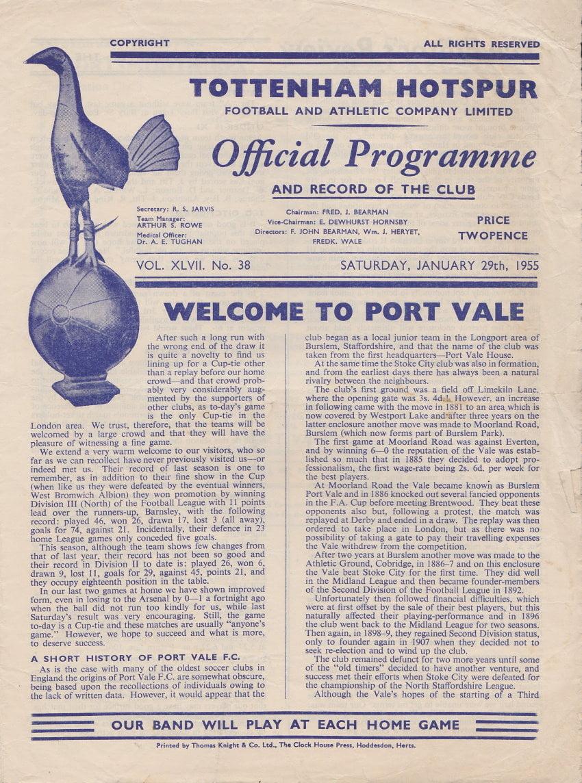 Tottenham Hotspur v Port Vale programme 1955 - front cover