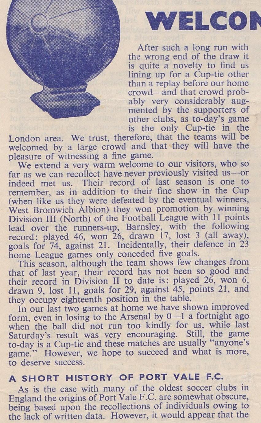 Tottenham Hotspur v Port Vale programme 1955 - front cover detail