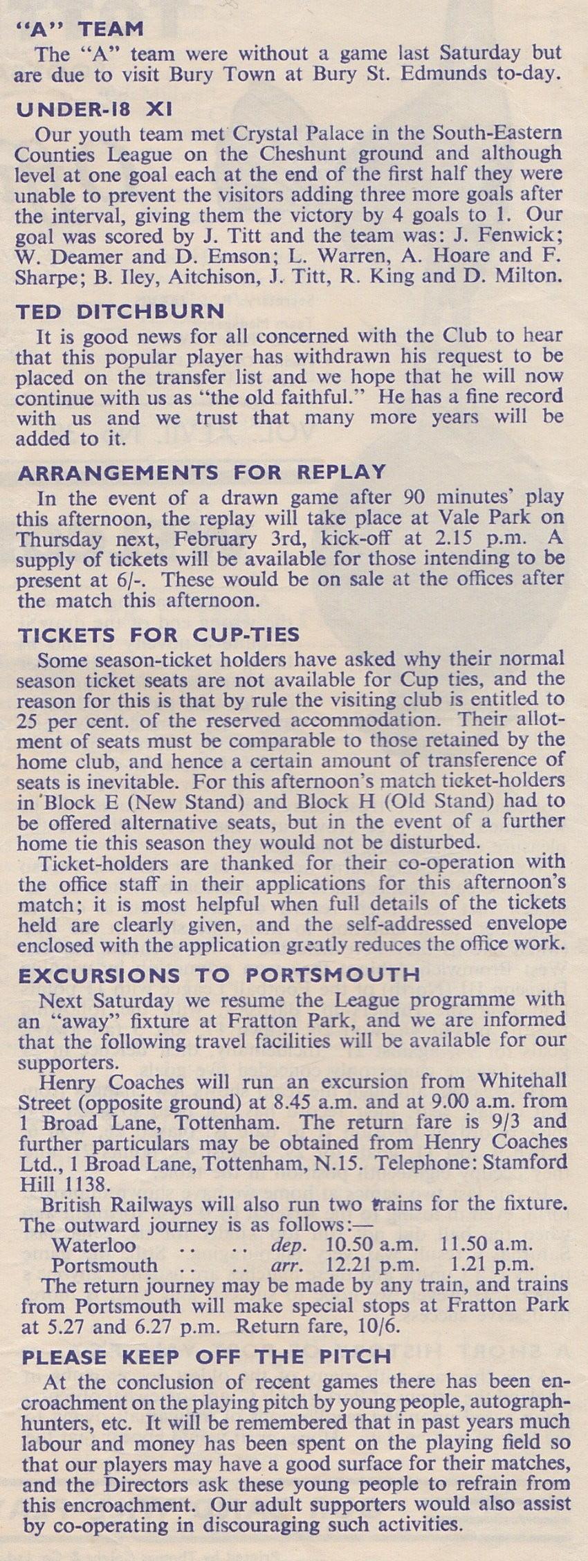Tottenham Hotspur v Port Vale programme 1955 - inside page 2 detail