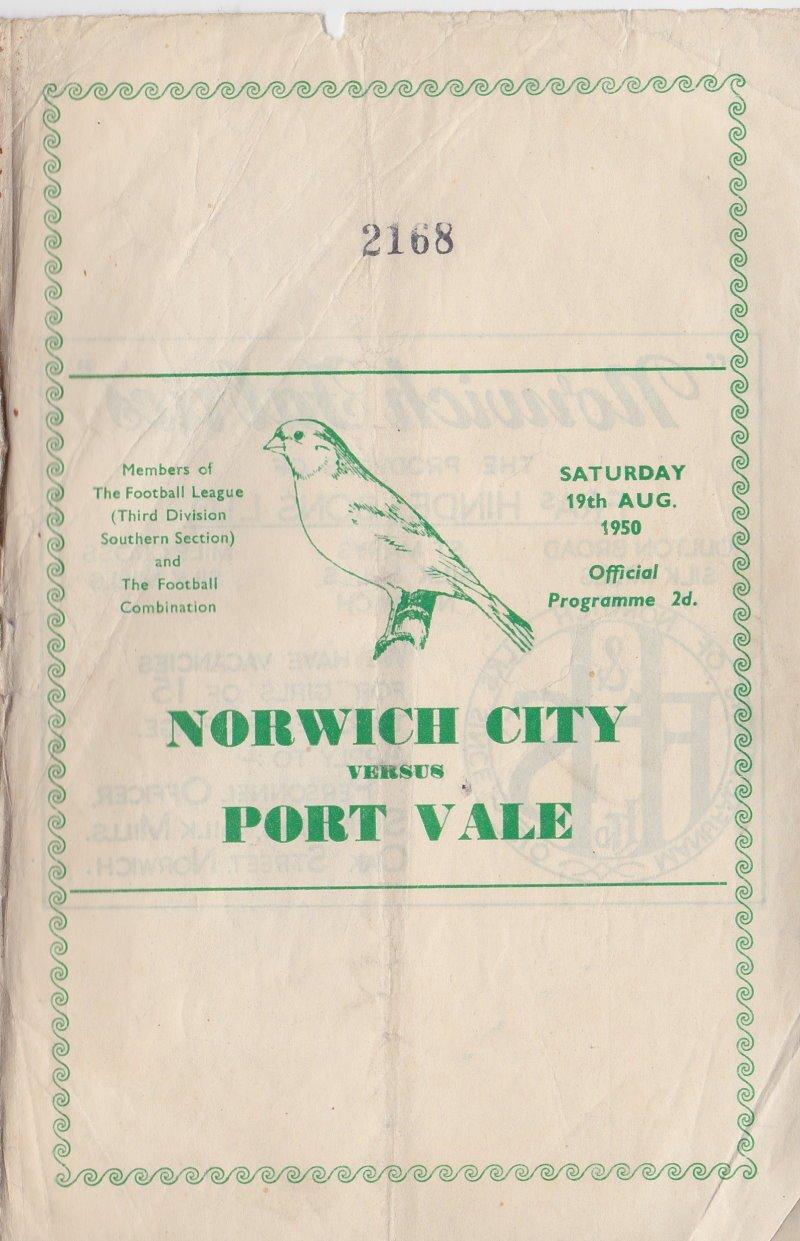 Norwich versus Port Vale programme 1950 #1