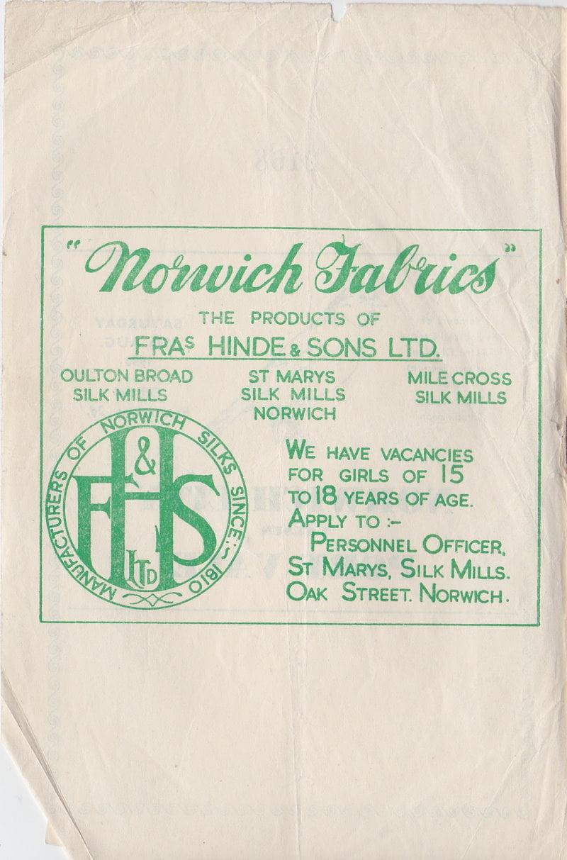 Norwich versus Port Vale programme 1950 #2