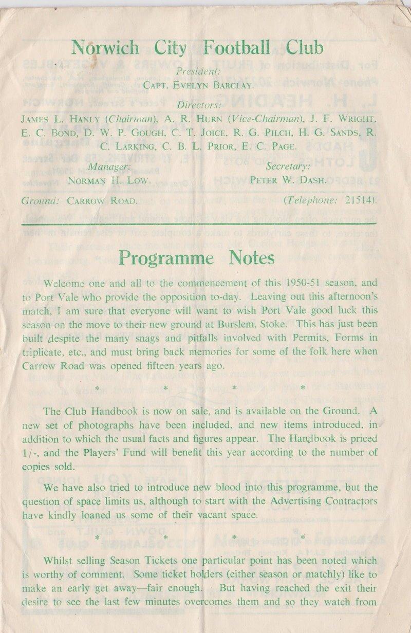 Norwich versus Port Vale programme 1950 #3