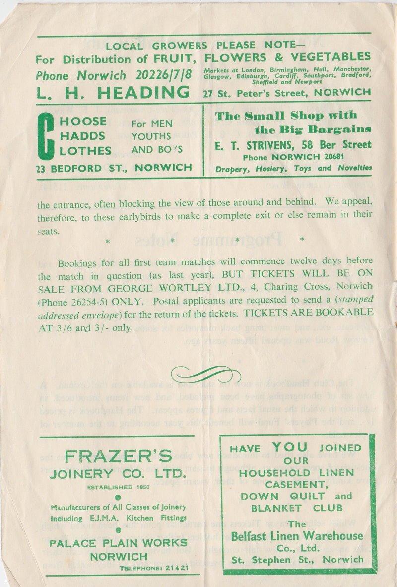 Norwich versus Port Vale programme 1950 #4
