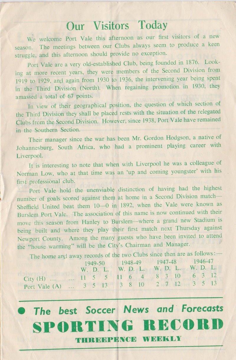 Norwich versus Port Vale programme 1950 #5