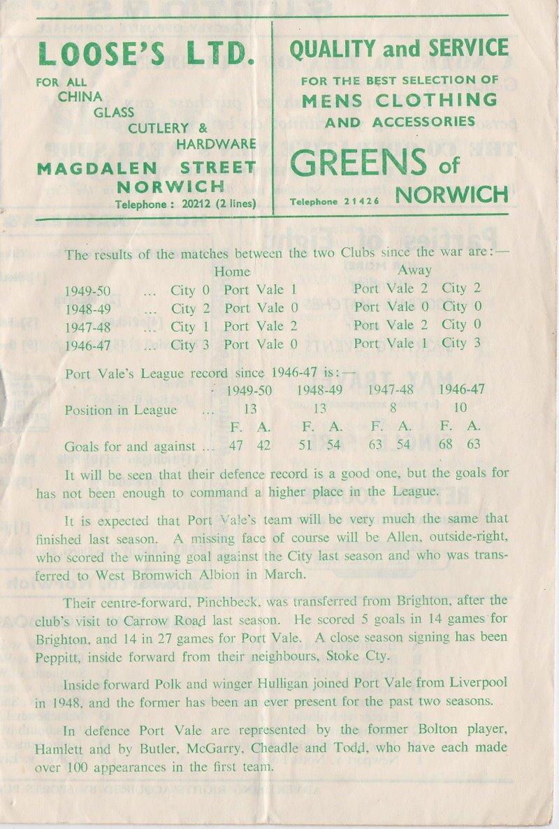 Norwich versus Port Vale programme 1950 #6