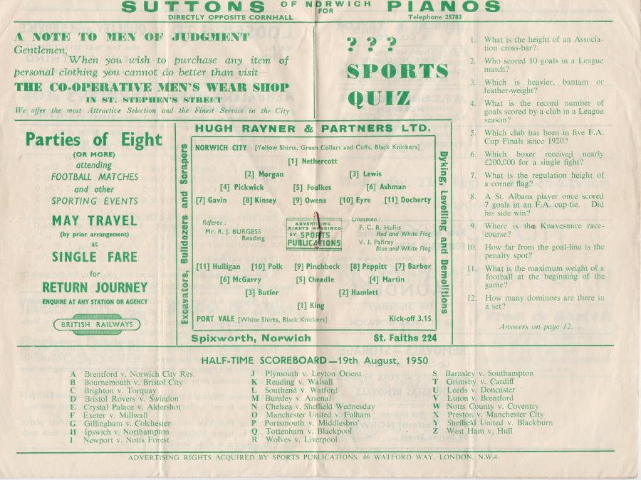Norwich versus Port Vale programme 1950 #7