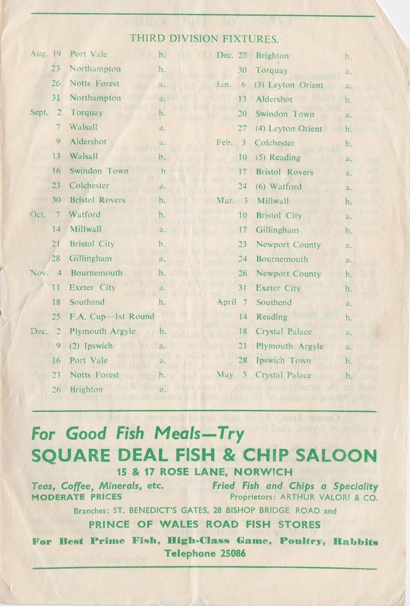 Norwich versus Port Vale programme 1950 #8