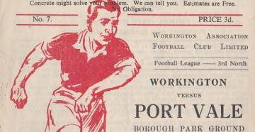 Workington versus Port Vale programme 1952