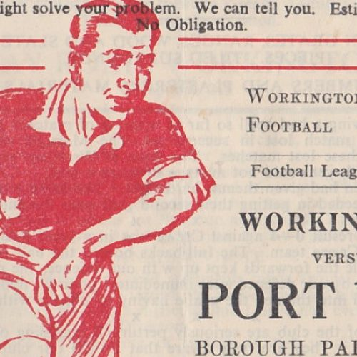 Workington versus Port Vale programme 1952