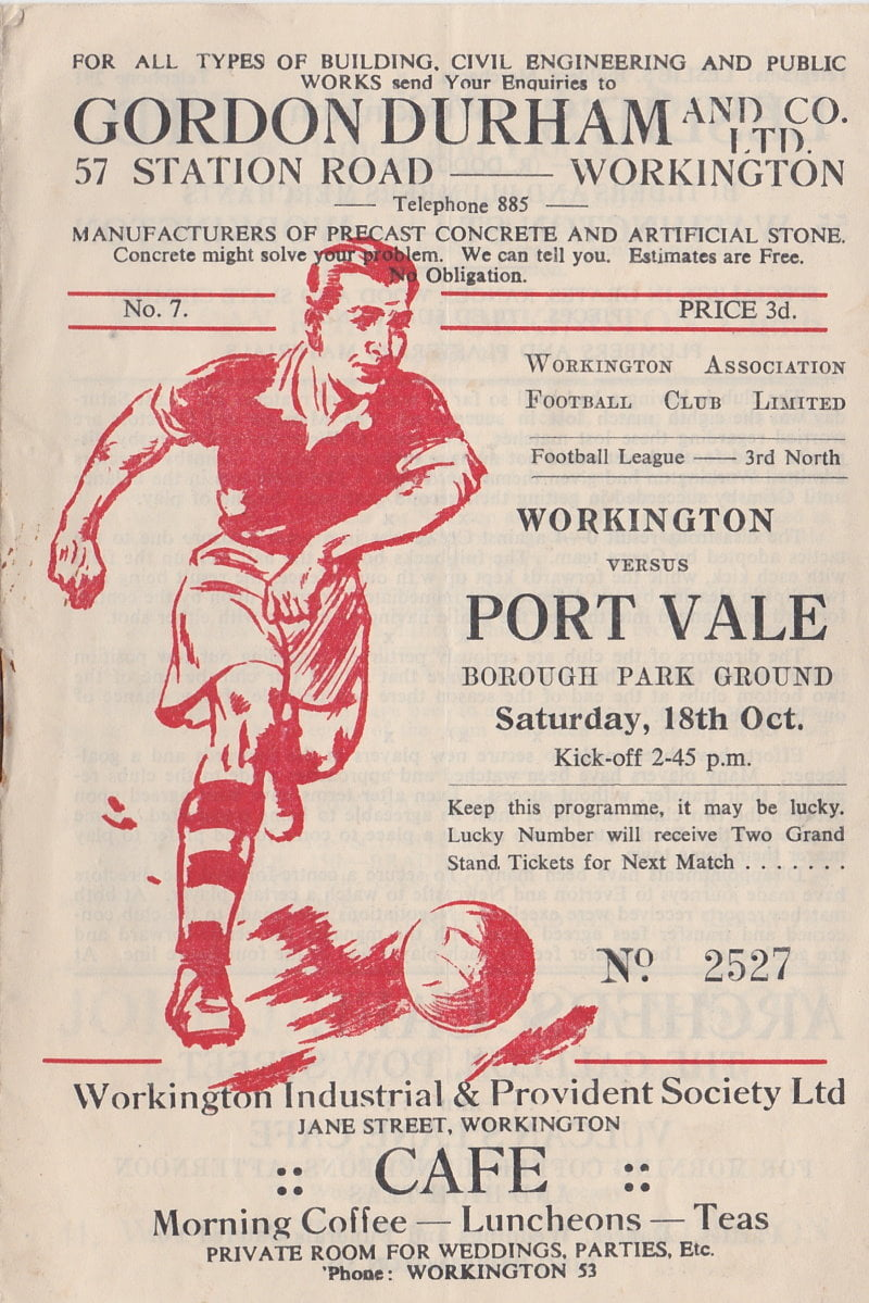 Workington versus Port Vale programme 1952 #1