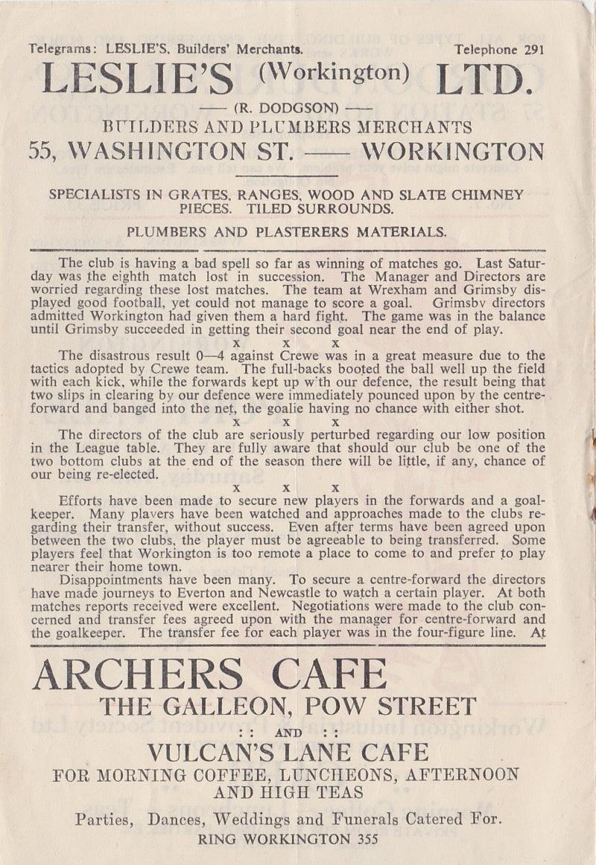 Workington versus Port Vale programme 1952 #2