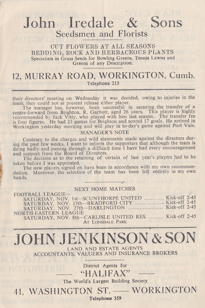 Workington versus Port Vale programme 1952 #3