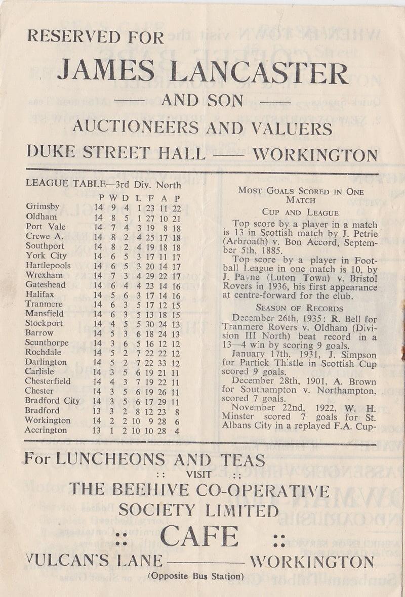 Workington versus Port Vale programme 1952 #4