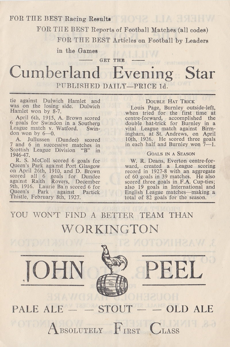Workington versus Port Vale programme 1952 #5