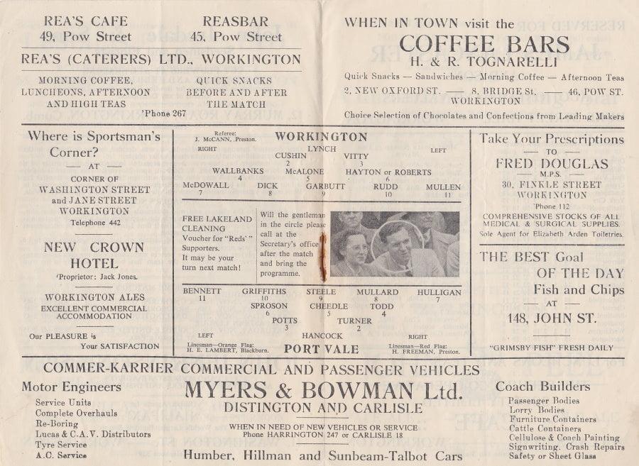 Workington versus Port Vale programme 1952 #6