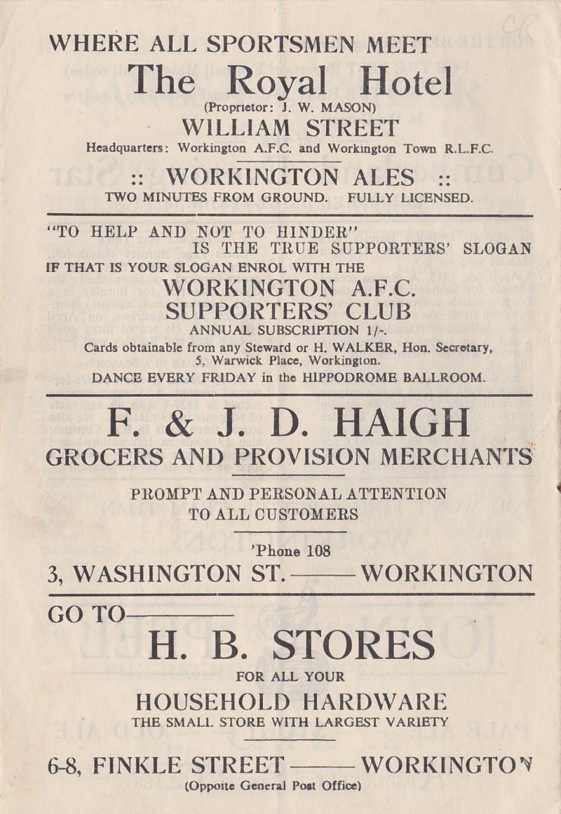 Workington versus Port Vale programme 1952 #7