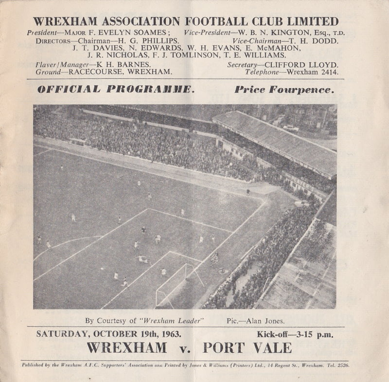 Wrexham vs Port Vale programme 1963 #1